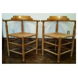 Matching corner chairs, woven seat & rounded back