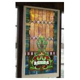 Leaded glass window with memorial pane