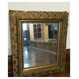 "Gold Ornate framed mirror,  7"" frame width"