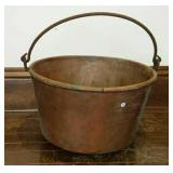 """Copper Kettle with bale  24"""" diameter, 14"""" tall"""