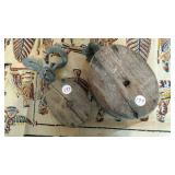 "Wood Pulleys (2) 6"" & 4"" long, one with hooks"