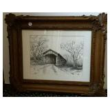 Marcella Carter ink drawing, Dunlapsville Bridge