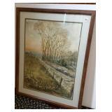 D. Gray Watercolor, country field scene
