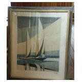 Sail Boat, print, framed, signed