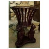 Round wood plant holder, cat carvings,