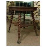 Round Oak Lamp Table, claw & glass ball feet