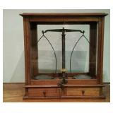 Antique Apothecary Scales in wood & glass case