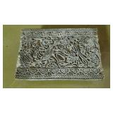 Antique wood print block  with floral pattern