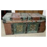Metal shipping or travel trunk.  Ornate design