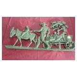 Brass Wall Plaque, mule, children, dog, wagon