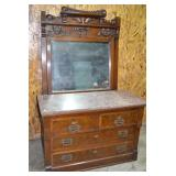 Antique Marble top dresser - 5 drawers, & mirror