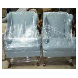 Blue Upholstered Wing Back Chairs (2)
