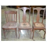 Oak wood vintage chairs (3)
