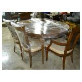 Dining room table and 6 chairs, 2 leaves