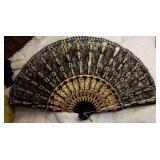 Folding fan, black lace, sequins & painted design