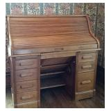 Oak Roll top desk with typewriter area under top