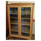 Antique oak glass door Larkin book shelf