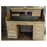 Oak Roll Top Desk with many cubby holes & drawers