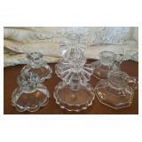 Glass candle sticks  3 sets