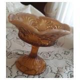Fenton opalescent brown glass compote