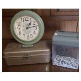 Cash box, electric wall clock, Fellows Shredmate