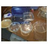Pyrex glass baking dishes, pie, cake, casserole,