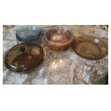 Colored glass baking dishes, casseroles and pies