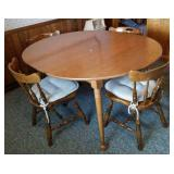 Wood kitchen table, 1 leaf  & 4 chairs