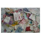 Hankies, some with hand work, pretty flower prints