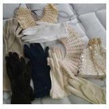 Ladies gloves, 6 pair,  crochet collars -2