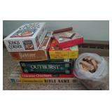 Boards games, Yahtzee, Kings Corner, Outburst,