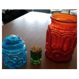 Moon and stars blue canister, green toothpick