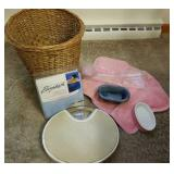 Bathroom lot, soap dishes, bath pillows scales,