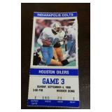 Houston Oilers VS Colts Ticket Stub 9/4/1988