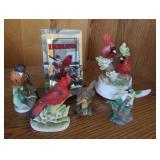 Porcelain bird figurines, one is music box