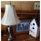 Lamp, birdhouse, framed print, lamp 18 tall