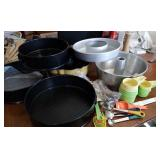 Measuring cups, spoons, cake baking pans