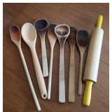 Wood spoons and rolling pin
