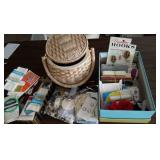 Sewing supplies and sewing basket