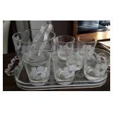Ice bowl with matching glasses on acrylic tray
