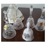Glass and porcelain bells. 5 in lot.