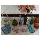 Glass decor of various colors, vases, fairy lamp