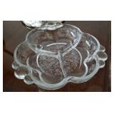Divided crystal etched dish, Cambridge Glass?