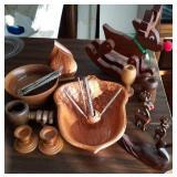 Wood reindeer,  nut bowls, candleholders,