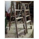 Two 5 foot step ladders  - wood