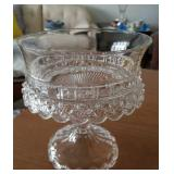 """Vintage glass compote 8"""" tall 7"""" diameter"""