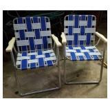 Folding web lawn chairs (2) blue & white