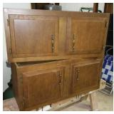 Wood upper cabinets. 2 doors each section.