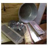Brass push plates, pan, stove burnerss