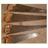 Hand saws (4),  one Disston, 3 Warranted Superior